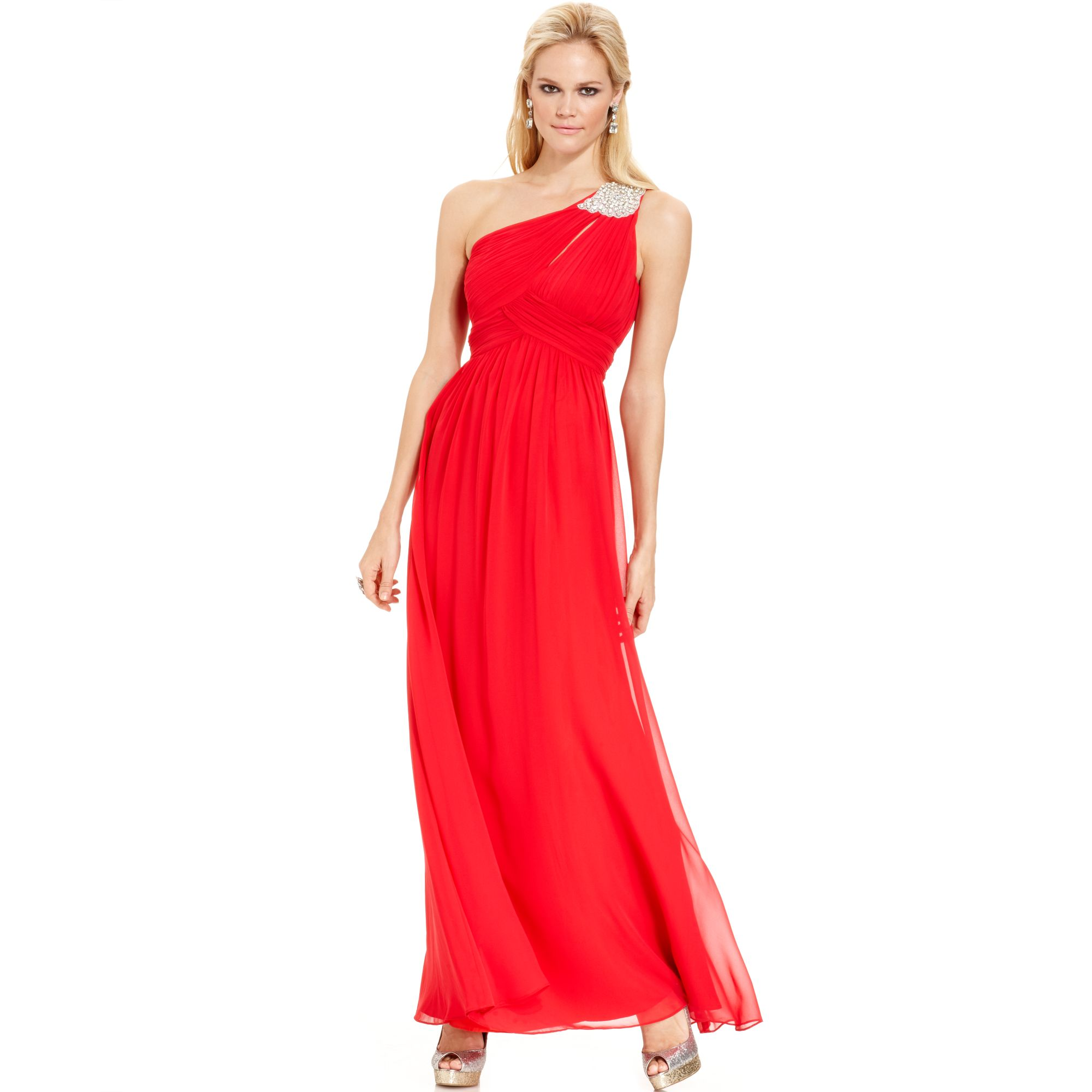 1002ab8e07 Calvin Klein Red One Shoulder Jewel Brooch Gown