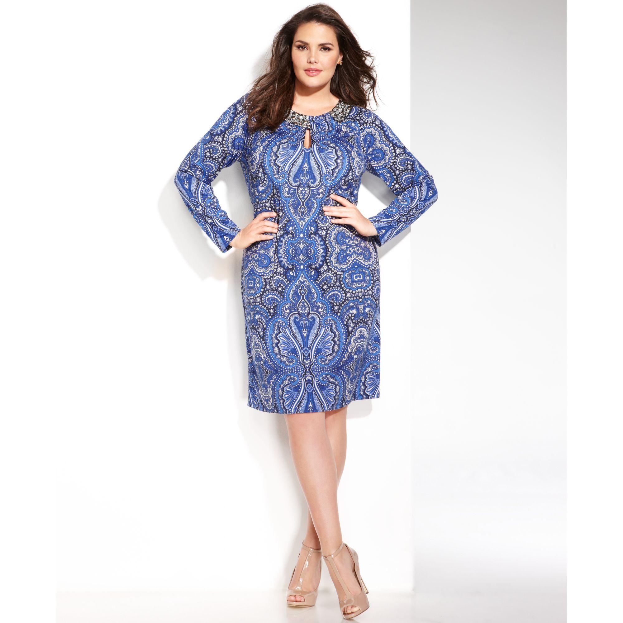 Plus Size Long Sleeve Paisley print Shift Dress