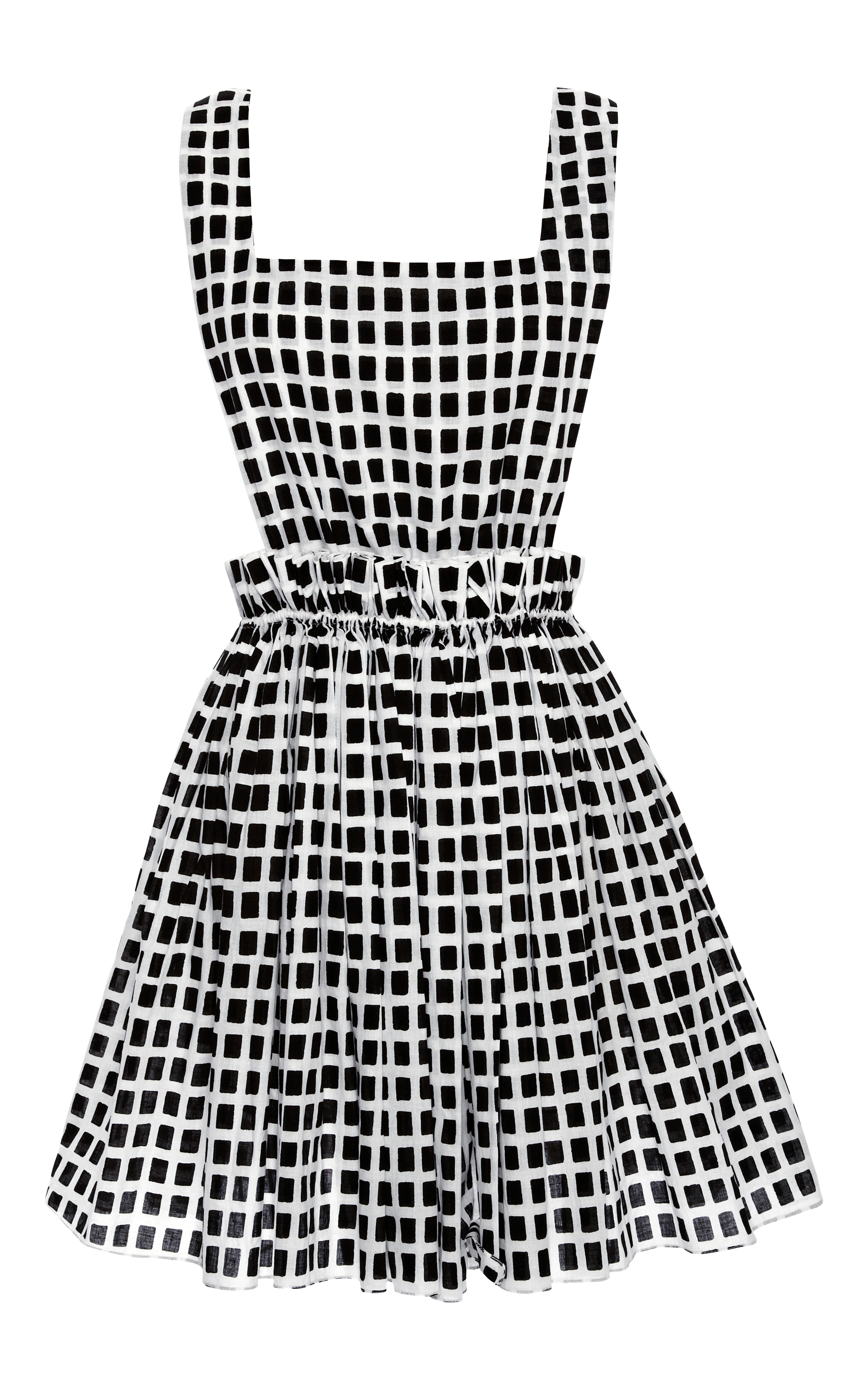 3c80c3297f1 Kalmanovich Black and White Checkered Dress with Cinched Waist in ...