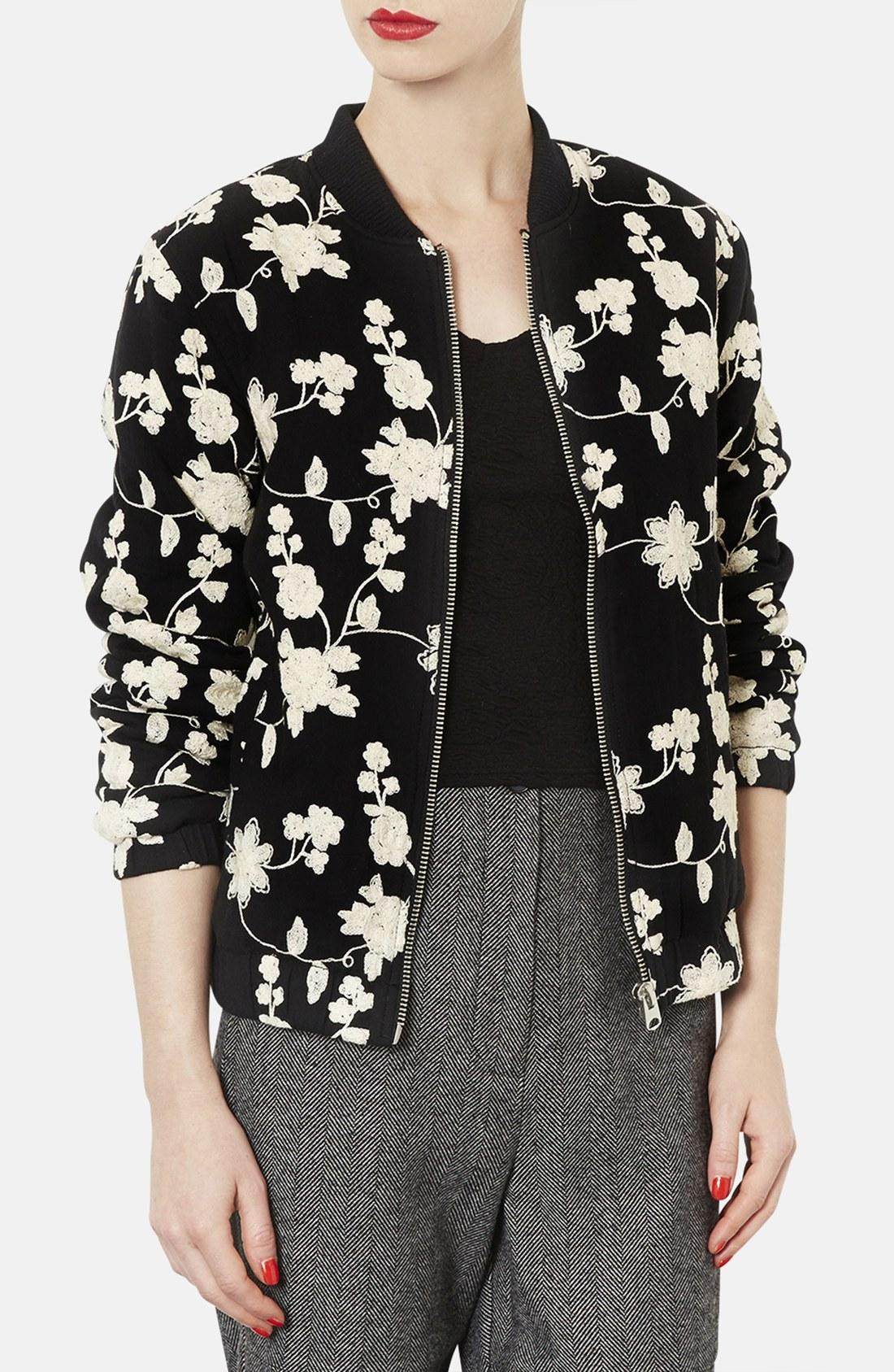 Topshop floral embroidered bomber jacket in beige black