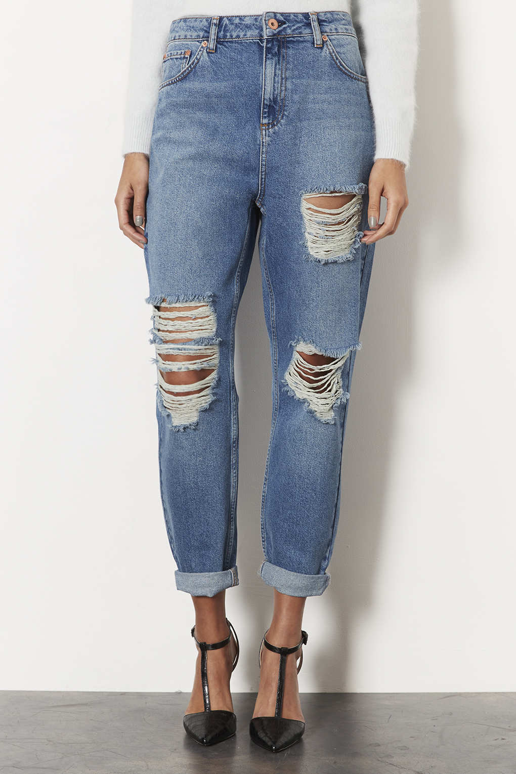 sneakers for cheap best prices top design TOPSHOP Moto Boyfriend Jeans in Mid Stone (Blue) - Lyst