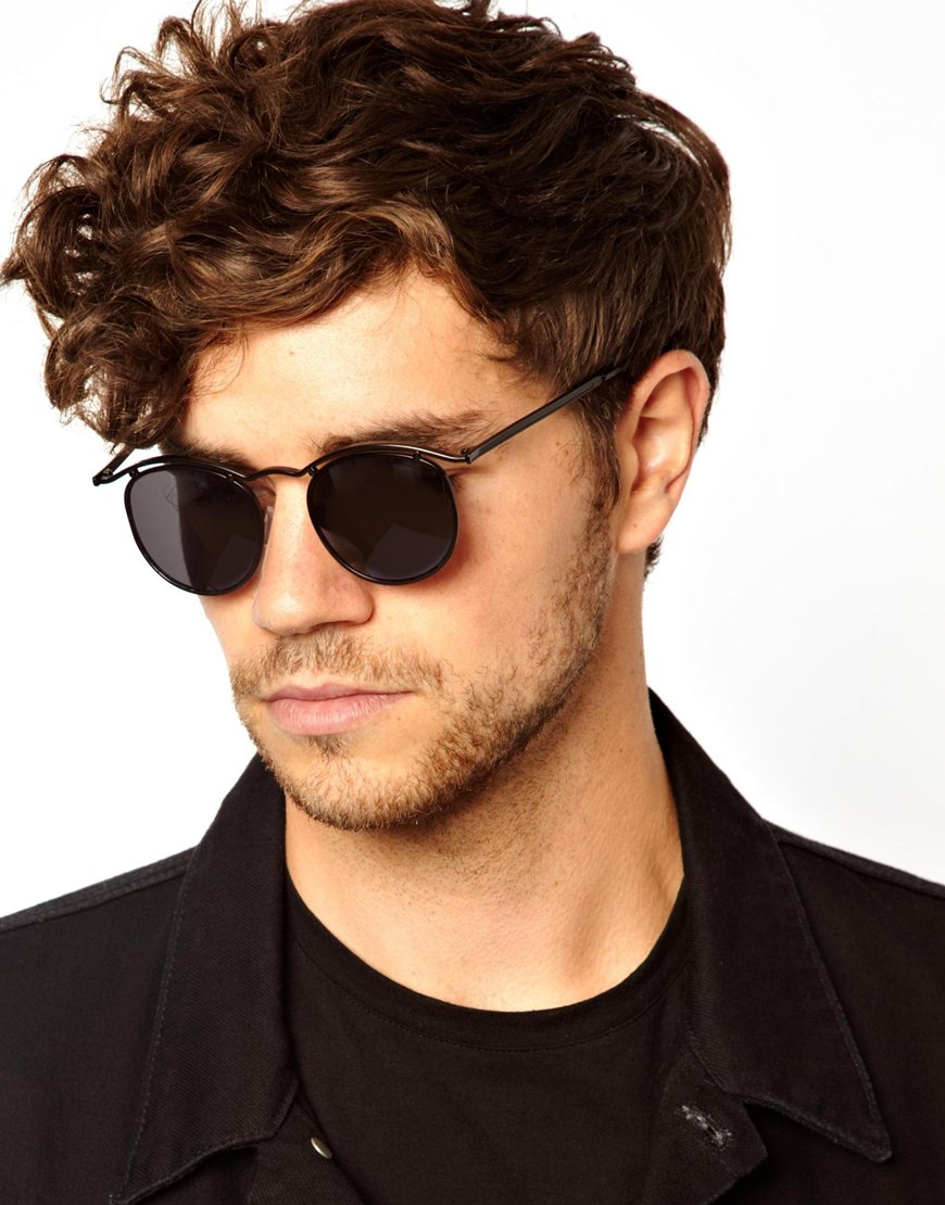 Asos Round Sunglasses With Curve Brow Bar In Black For Men