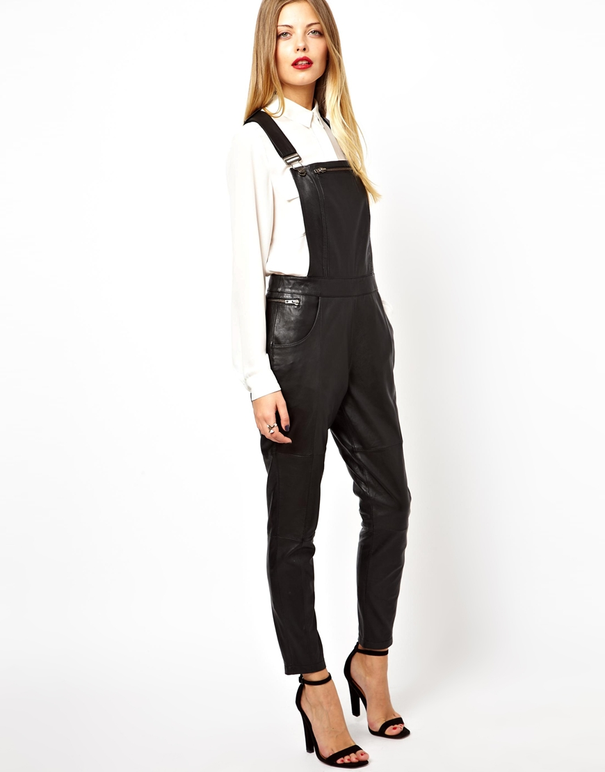 Lyst Asos Leather Dungarees In Black