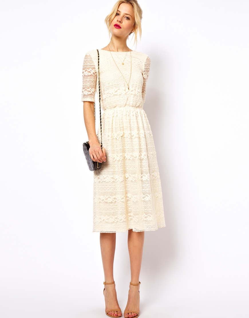 Midi Dress In Lace With Wrap Back