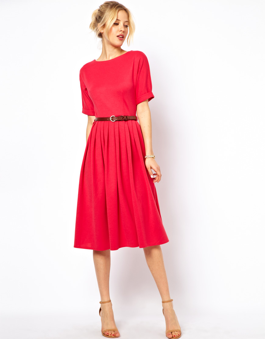 4fe9087f09 Asos Midi Dress With Fit And Flare Skirt – DACC
