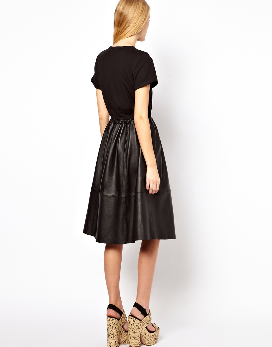 asos midi dress with leather skirt and jersey top in black