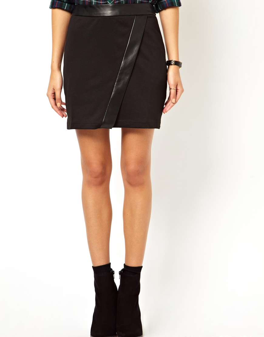 Asos Mini Skirt with Pu Wrap in Black | Lyst