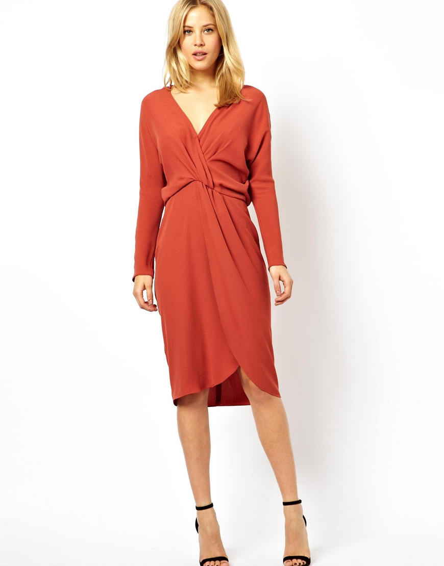Asos Pencil Dress With Knot Front And Batwing Sleeves in ...