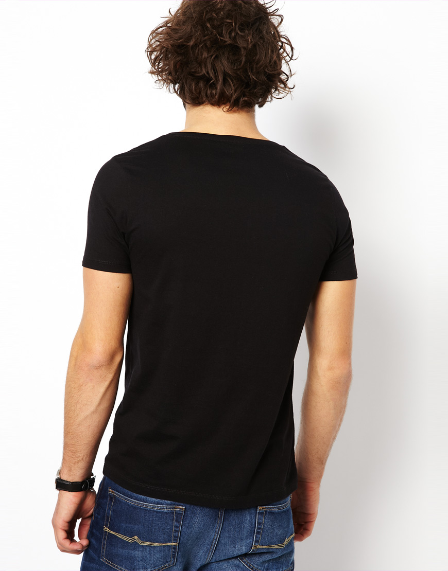 Lyst asos t shirt with scoop neck in black for men for Scoop neck t shirt