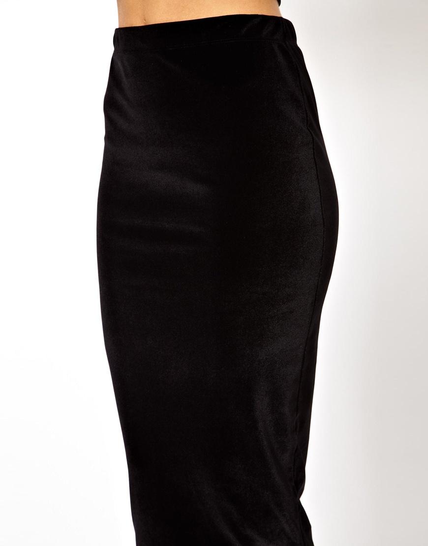 Asos Velvet Pencil Skirt in Black | Lyst