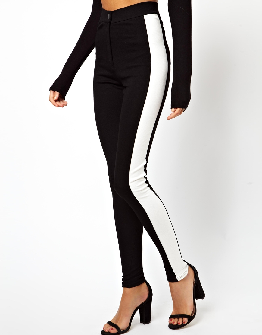 104eec2bf90 Lyst - ASOS Tube Trousers With Side Stripe in Black