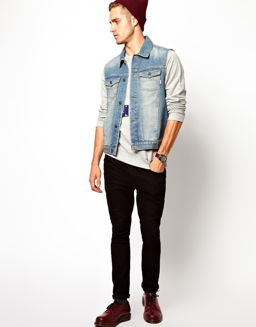 Lyst asos sleeveless denim jacket in blue for men the best denim jackets you can in fashionbeans mens denim jackets jacket coats and levi s type 3 sherpa.