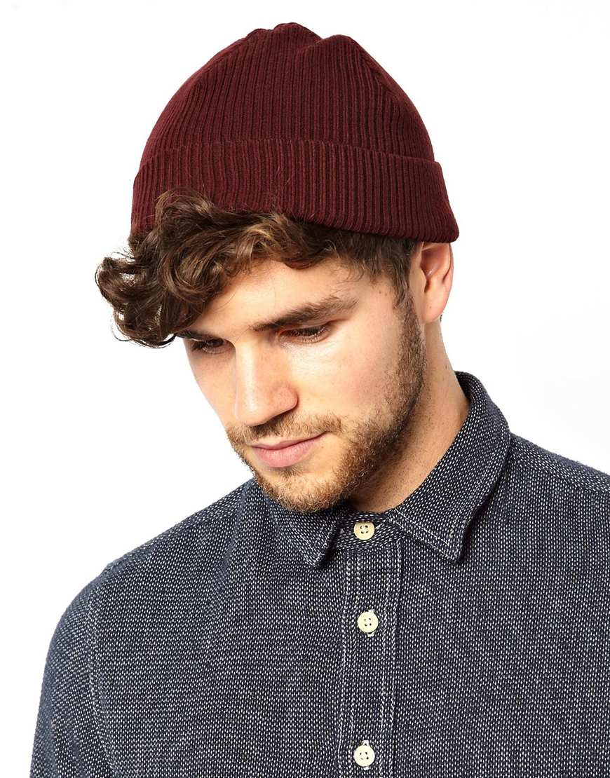 33f07434 ASOS Fisherman Beanie Hat in Red for Men - Lyst
