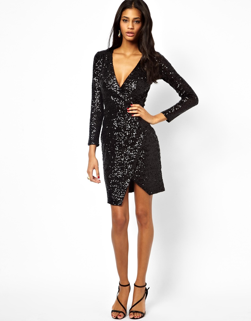 Lyst Asos Sequin Midi Dress With Wrap In Black