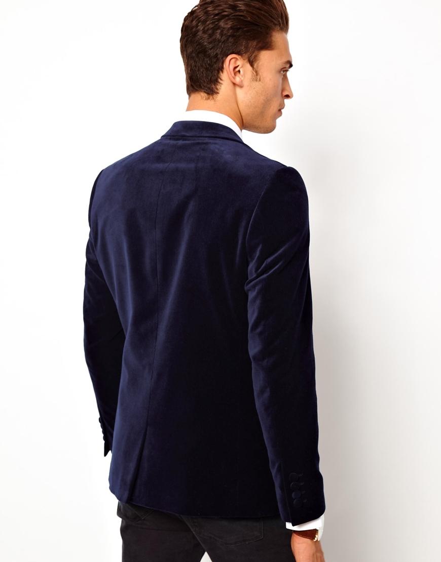 asos slim fit blazer in velvet in blue for men lyst. Black Bedroom Furniture Sets. Home Design Ideas