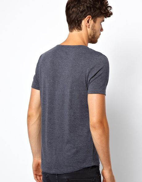Asos tshirt with deep scoop neck in gray for men navymarl for Deep scoop neck t shirt