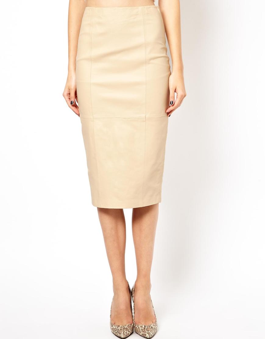 Beige Leather Skirt - Dress Ala