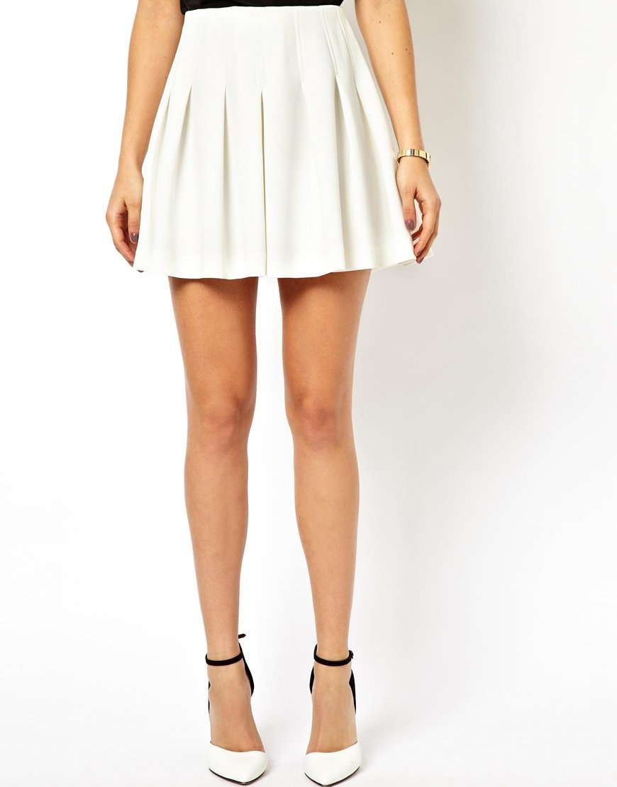 lyst asos mini skirt with structured pleats in white