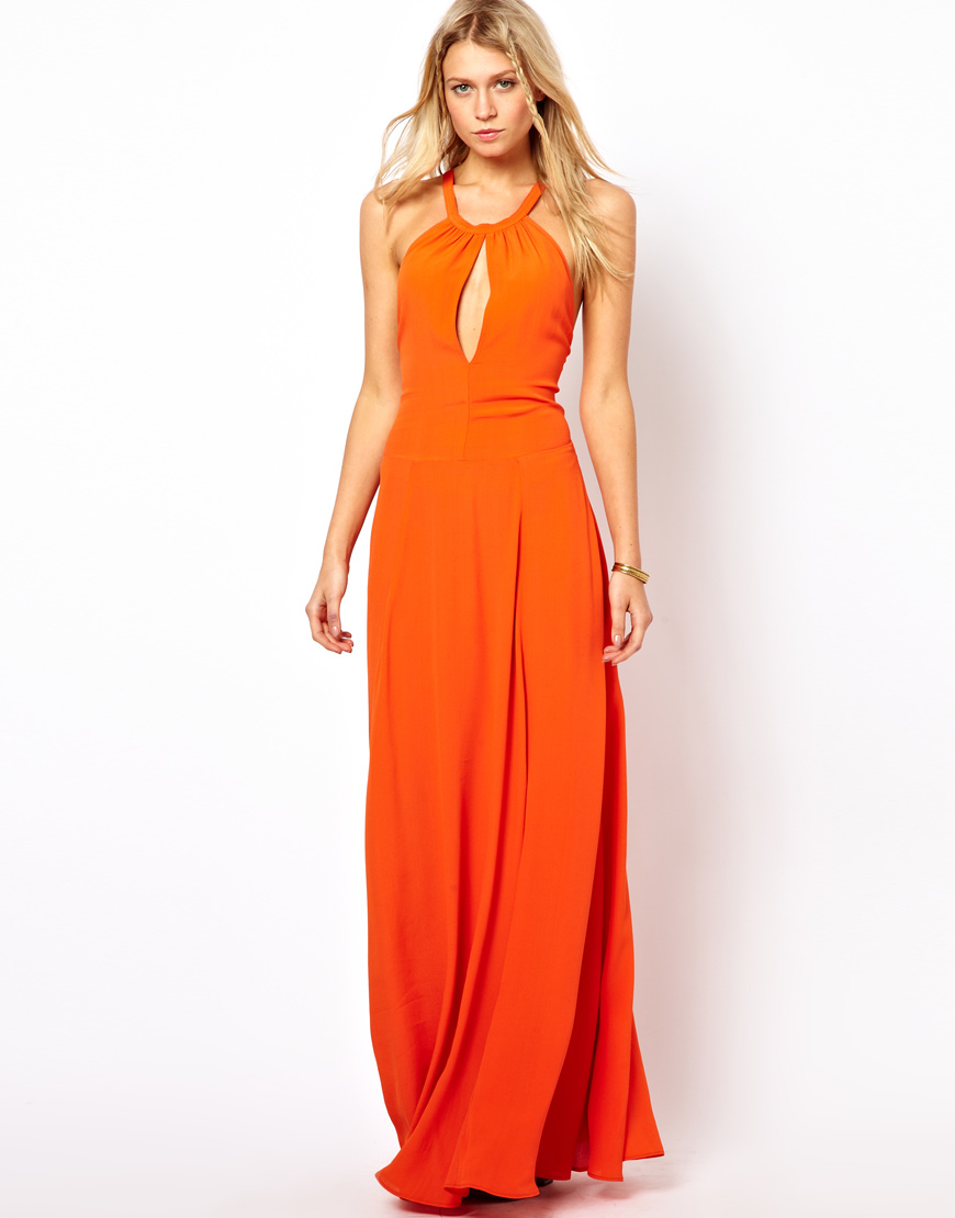 Asos Maxi Dress with Strappy Back in Orange