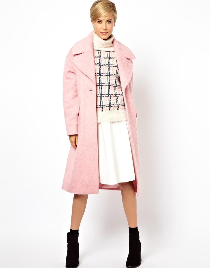 Asos Vintage Cocoon Coat in Pink | Lyst