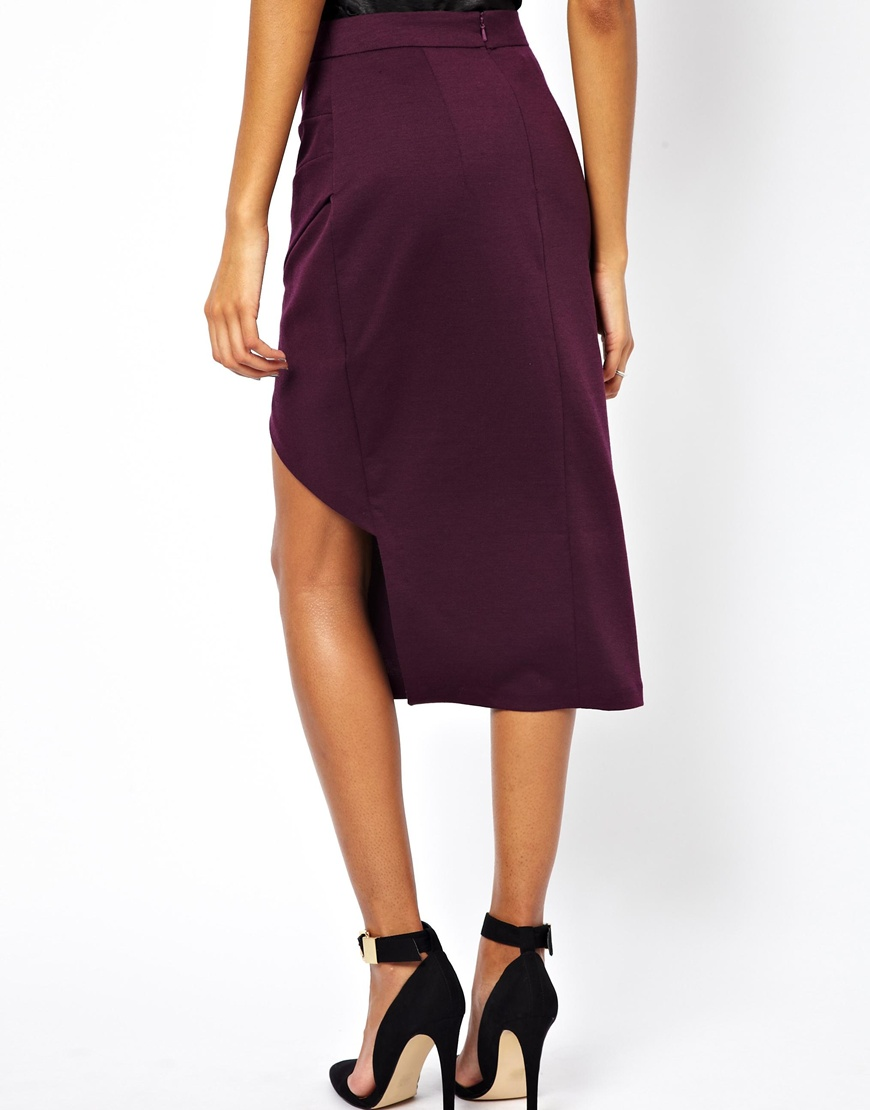Asos Pencil Skirt With Pleat Front And Side Split In Red