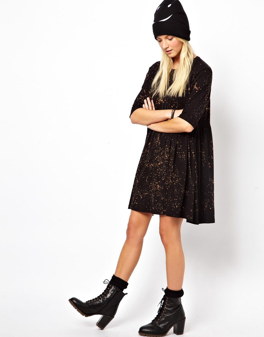 Asos Smock Dress With Bleach Wash In Print Black Lyst