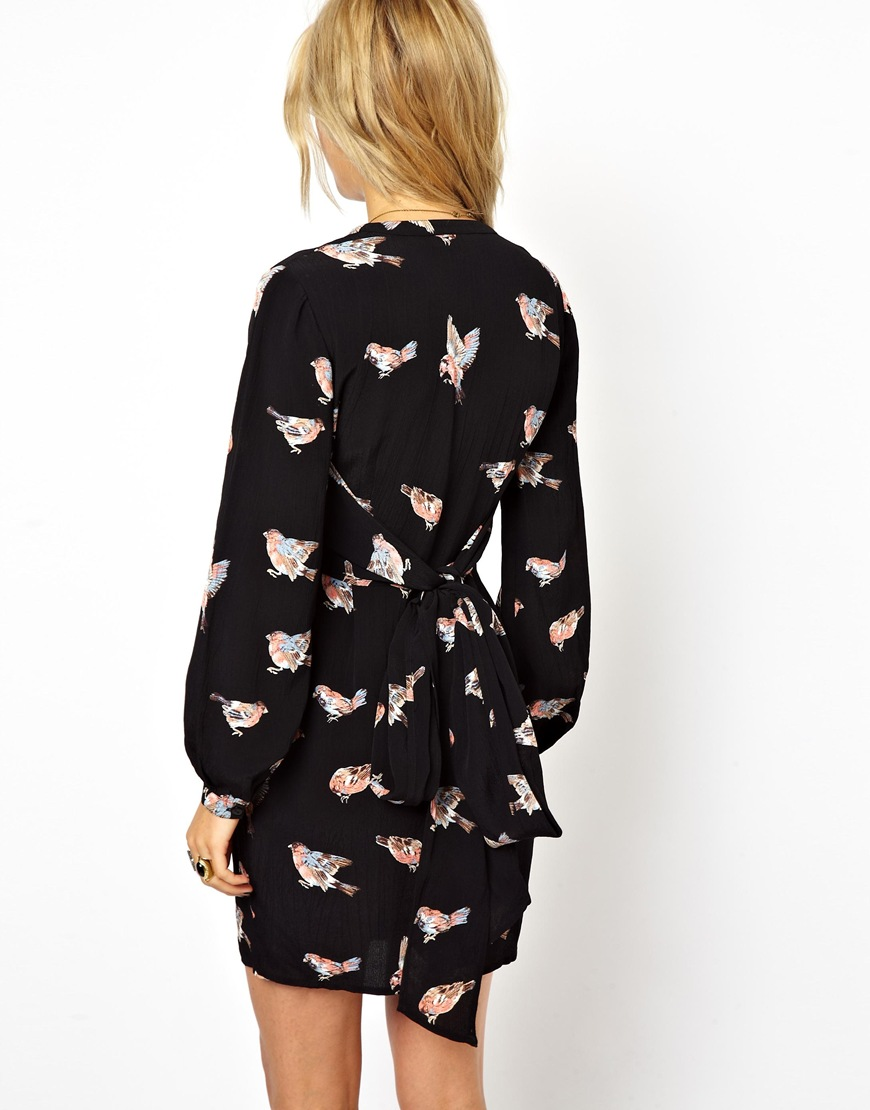 Lyst Asos Wrap Tulip Dress In Pretty Bird Print In Black