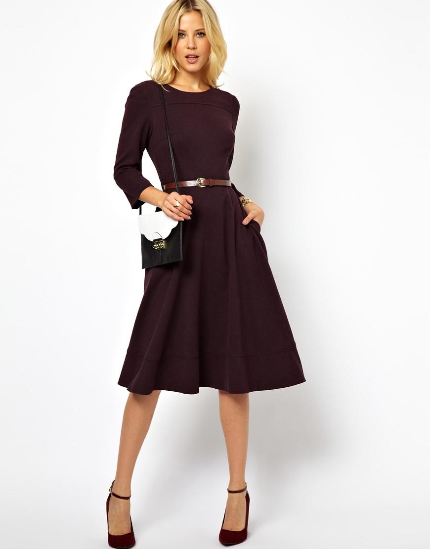 asos midi dress with belt in purple lyst