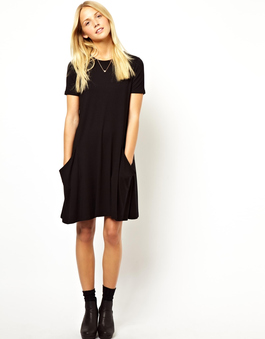 Lyst Asos Swing Dress With Pockets And Short Sleeves In
