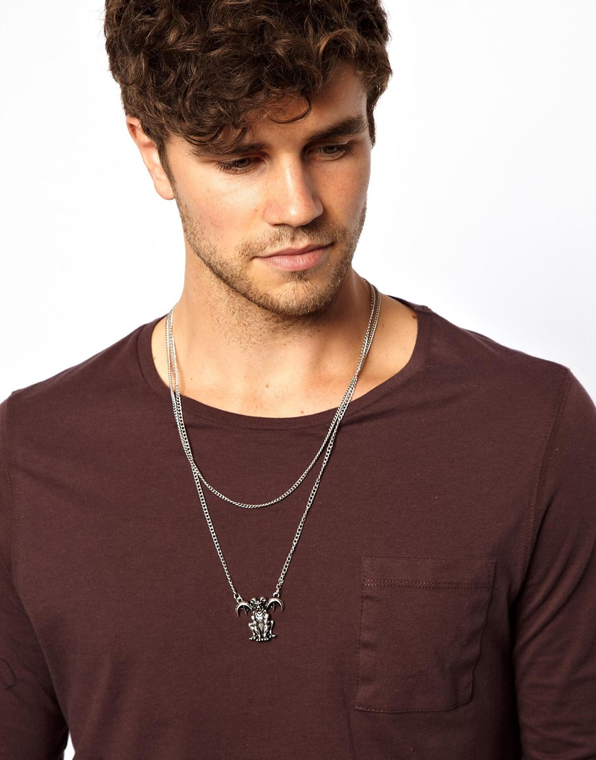 Asos Double Necklace With Gargoyle In Silver Metallic For Men Lyst
