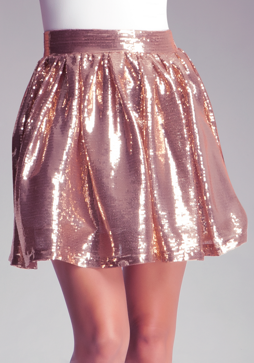 Bebe Sequin Pleated Skirt in Pink | Lyst