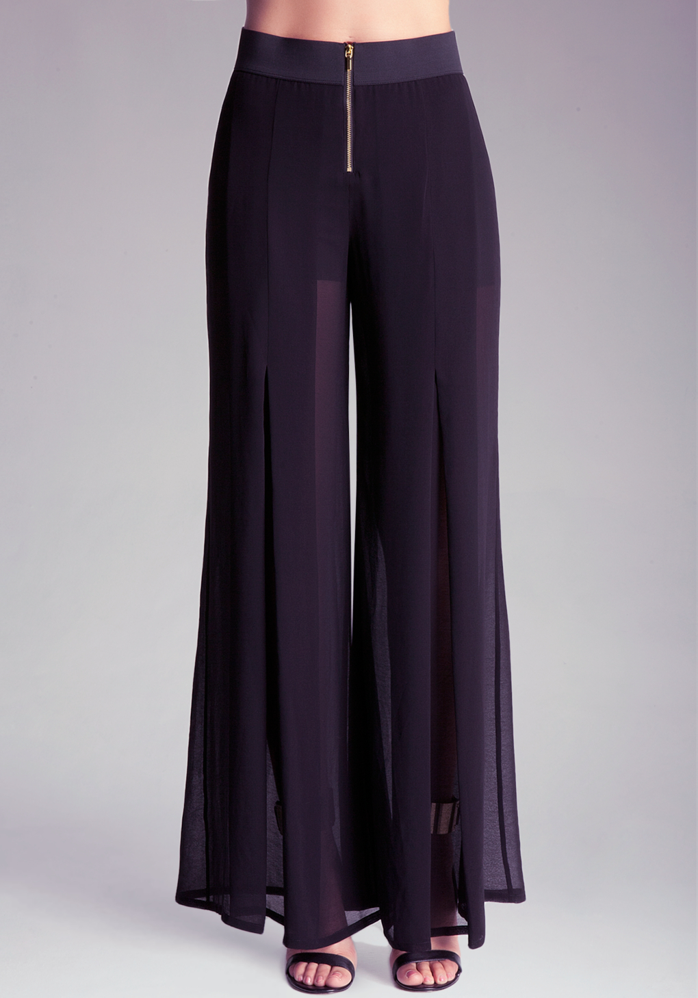 Bebe Sheer Wide Leg Pant in Black | Lyst