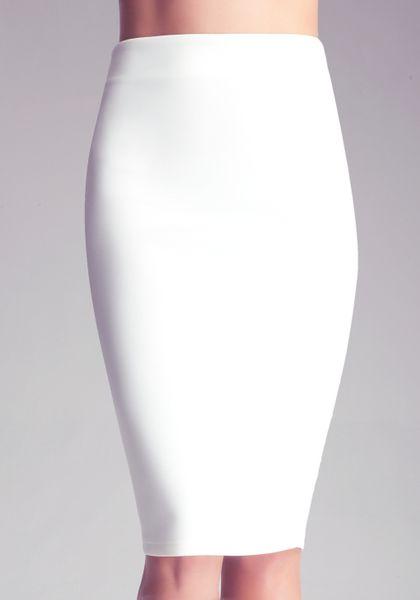 bebe midi knit skirt in white lyst