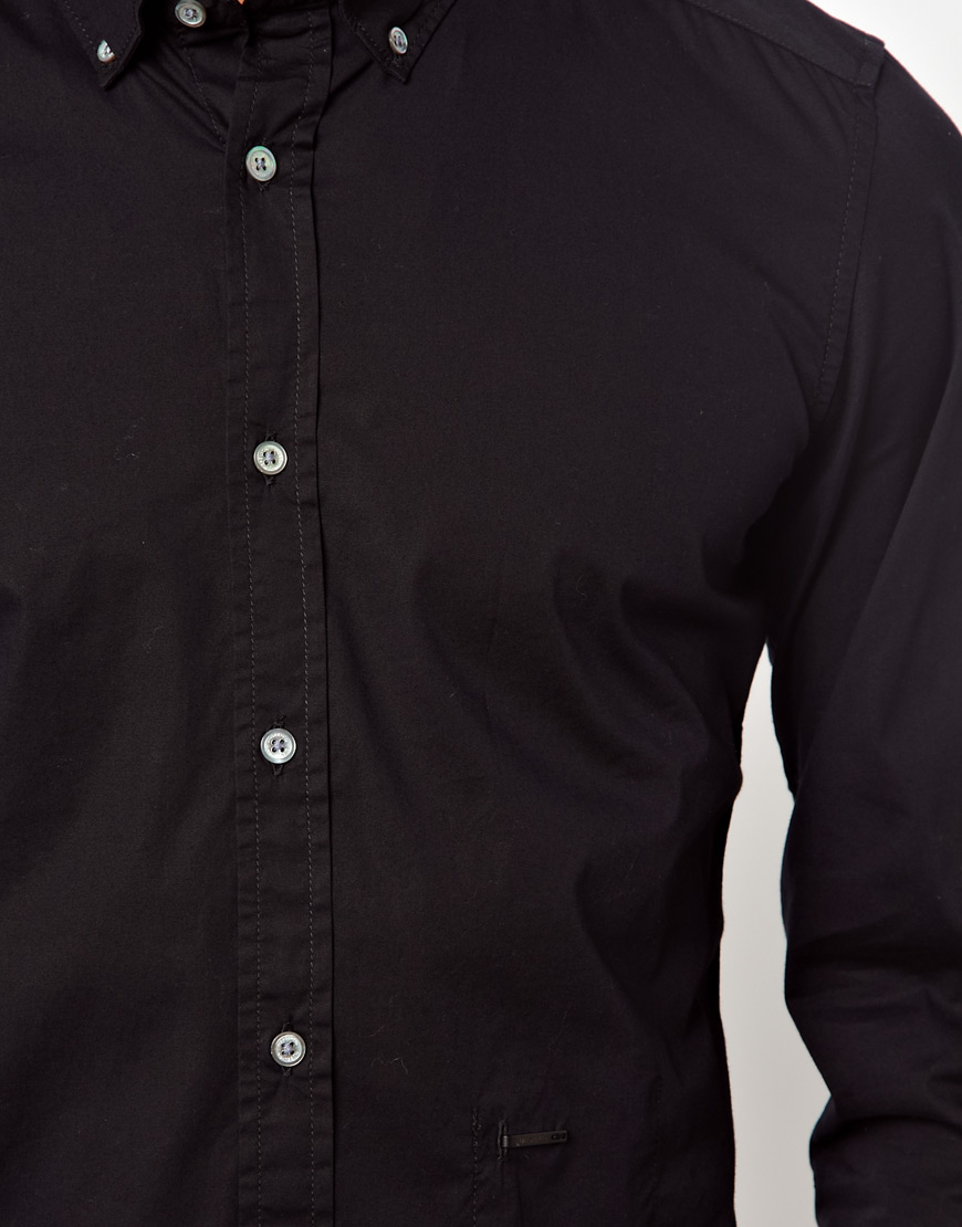 Lyst - Diesel Shirt Button Down Collar Spacificola in Black for Men