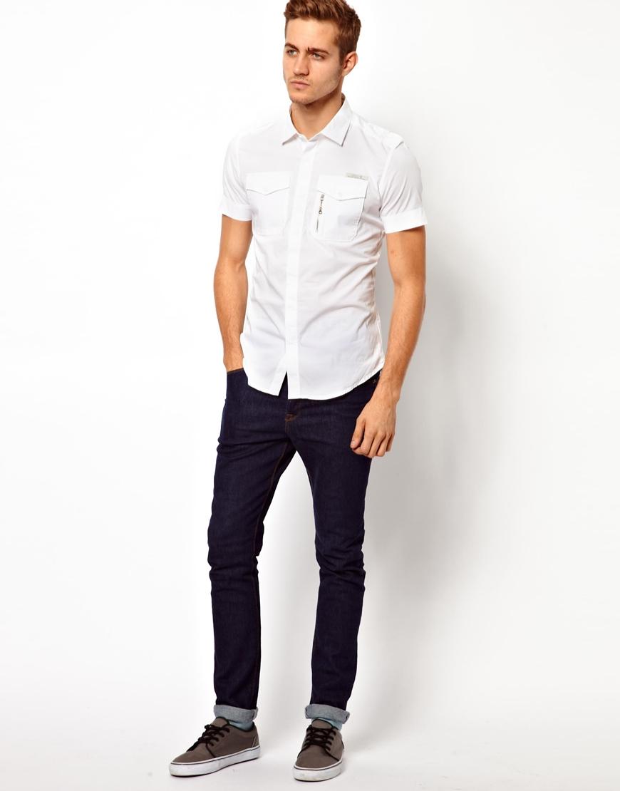 Diesel Shirt Short Sleeve Military Stombol in White for Men | Lyst