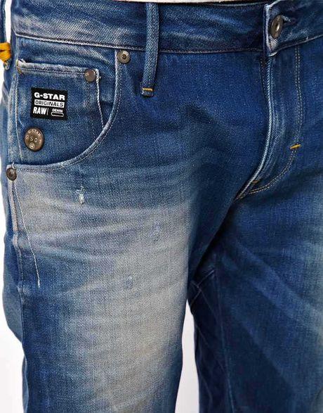 star raw g star jeans arc 3d slim medium aged in blue for men. Black Bedroom Furniture Sets. Home Design Ideas