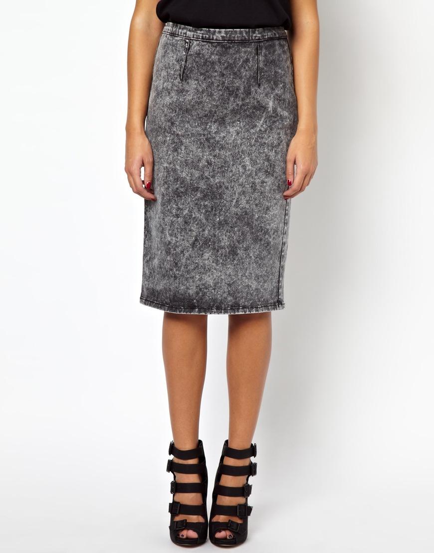 glamorous pencil skirt in acid wash denim in gray lyst
