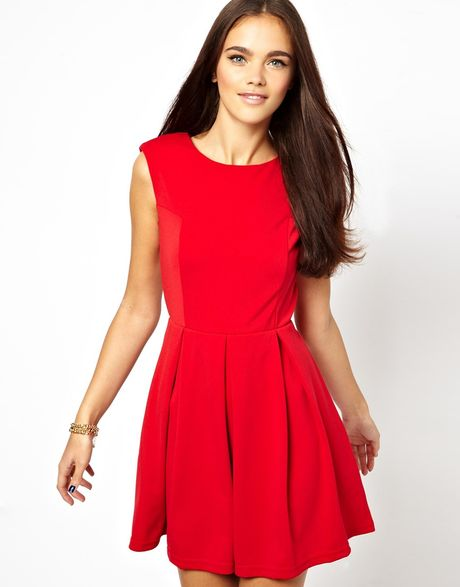 Red Open Back Skater Dress Dress With Open Back in