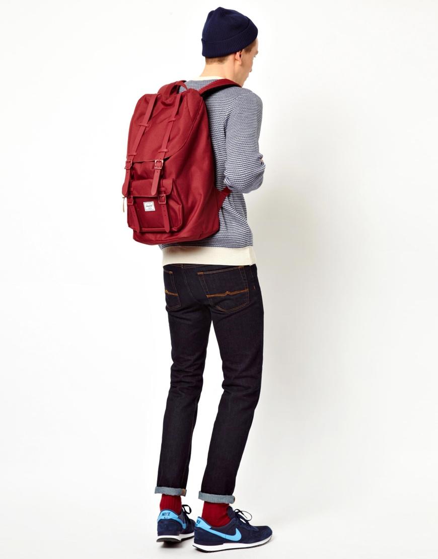 lyst herschel supply co little america backpack in red. Black Bedroom Furniture Sets. Home Design Ideas