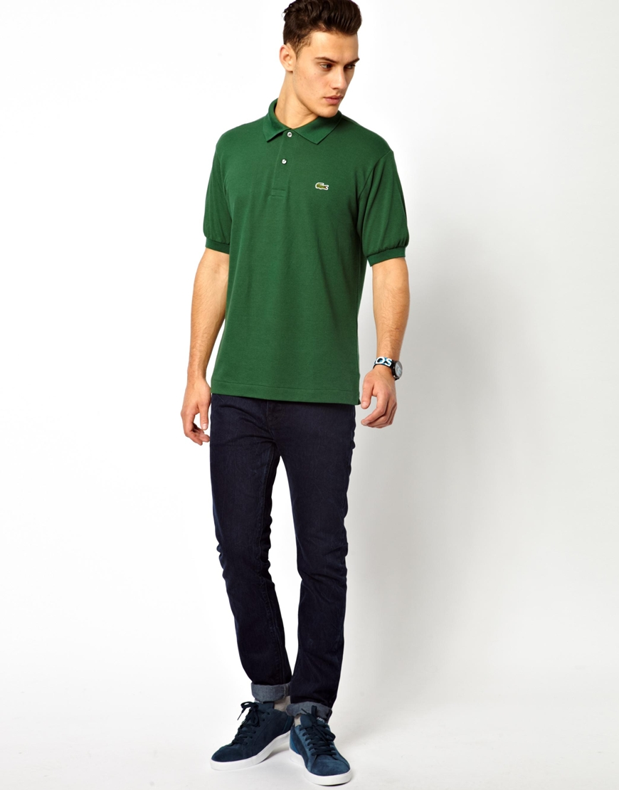 c61d60f466 Lacoste Green Polo Shirt with Crocodile for men