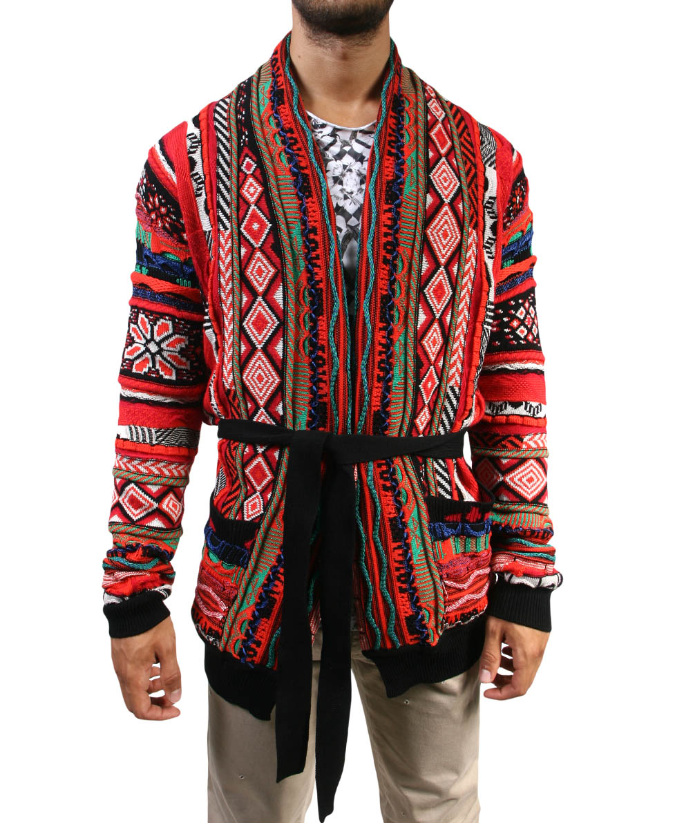 Lyst Laneus Jacquard Cotton Cardigan With Belt In Red