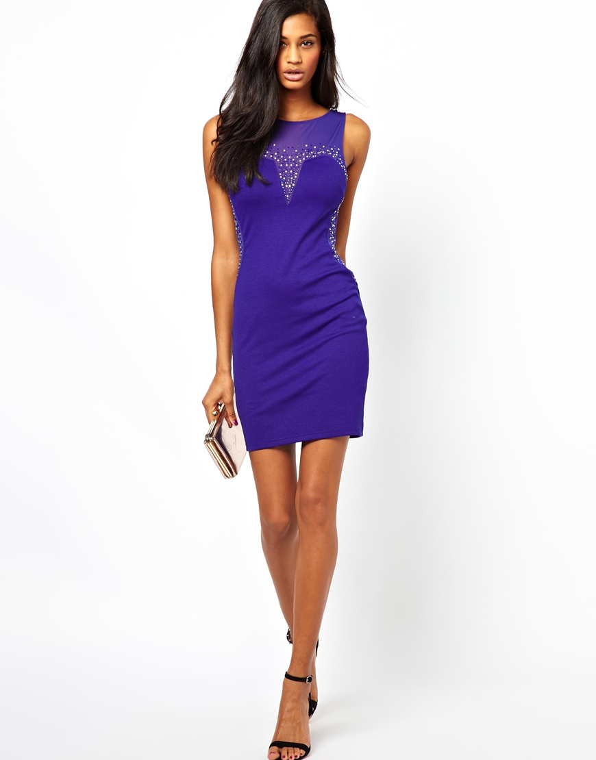 Lyst - Lipsy Mesh Dress with Glitter Studs in Blue