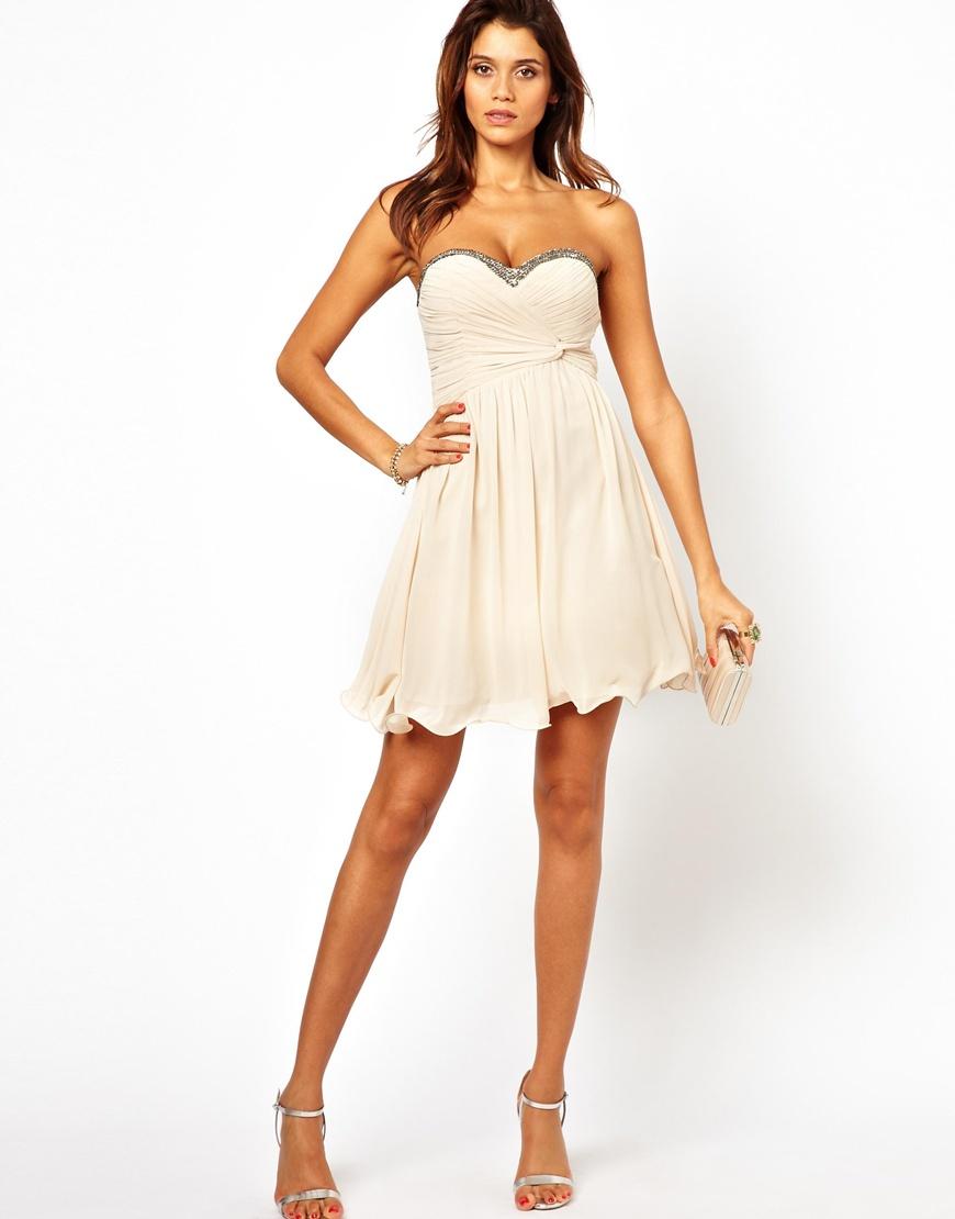 Little Mistress Bandeau Prom Dress With Embellished Trim