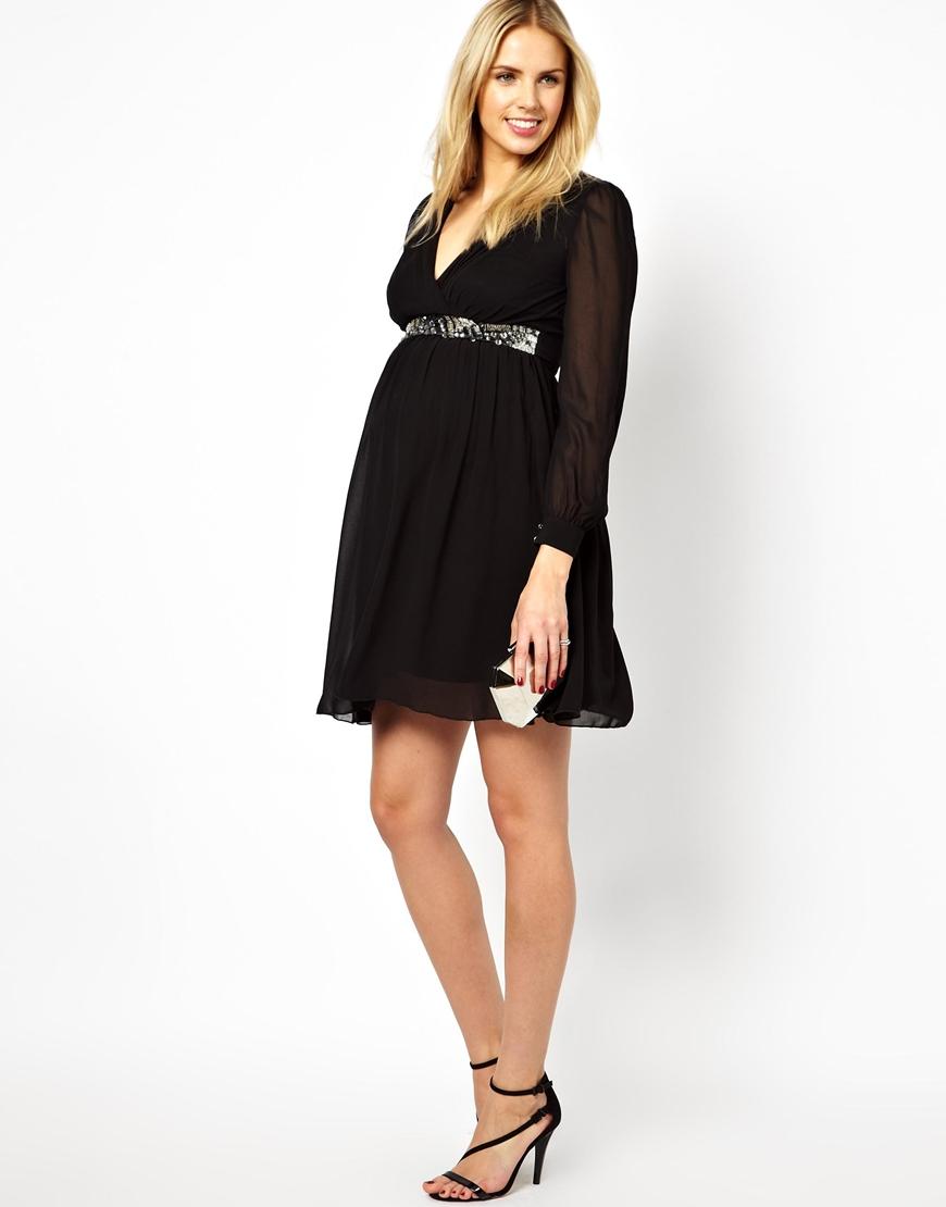 Asos Long Sleeve Embellished Waist Skater Dress In Black
