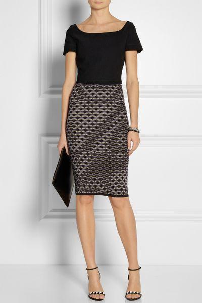 m missoni patterned stretchknit pencil skirt in blue lyst
