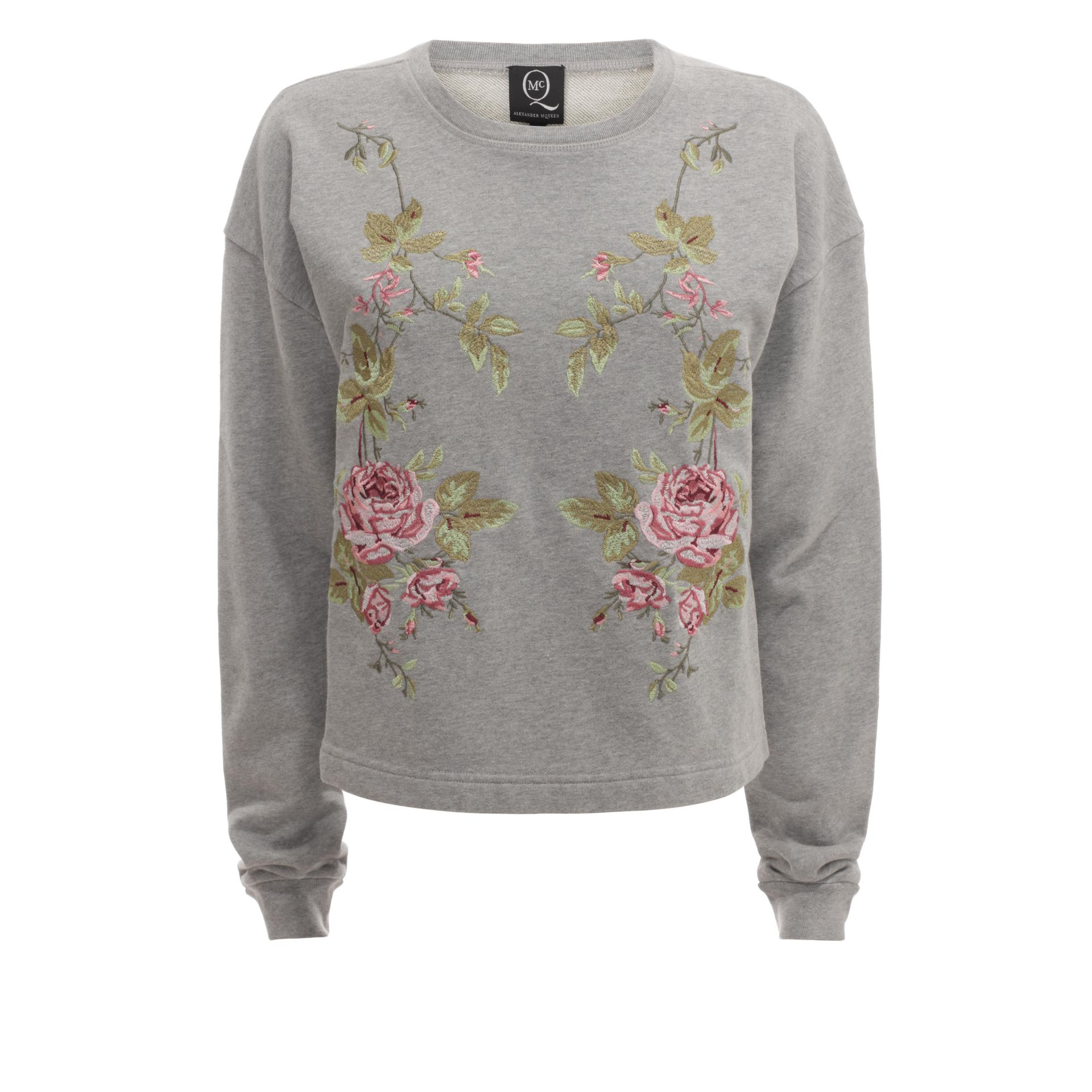 Lyst mcq rose embroidered sweatshirt in gray