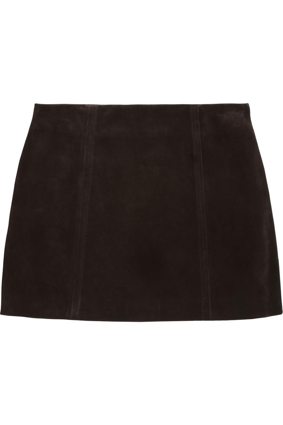 Miu miu Suede Mini Skirt in Brown | Lyst