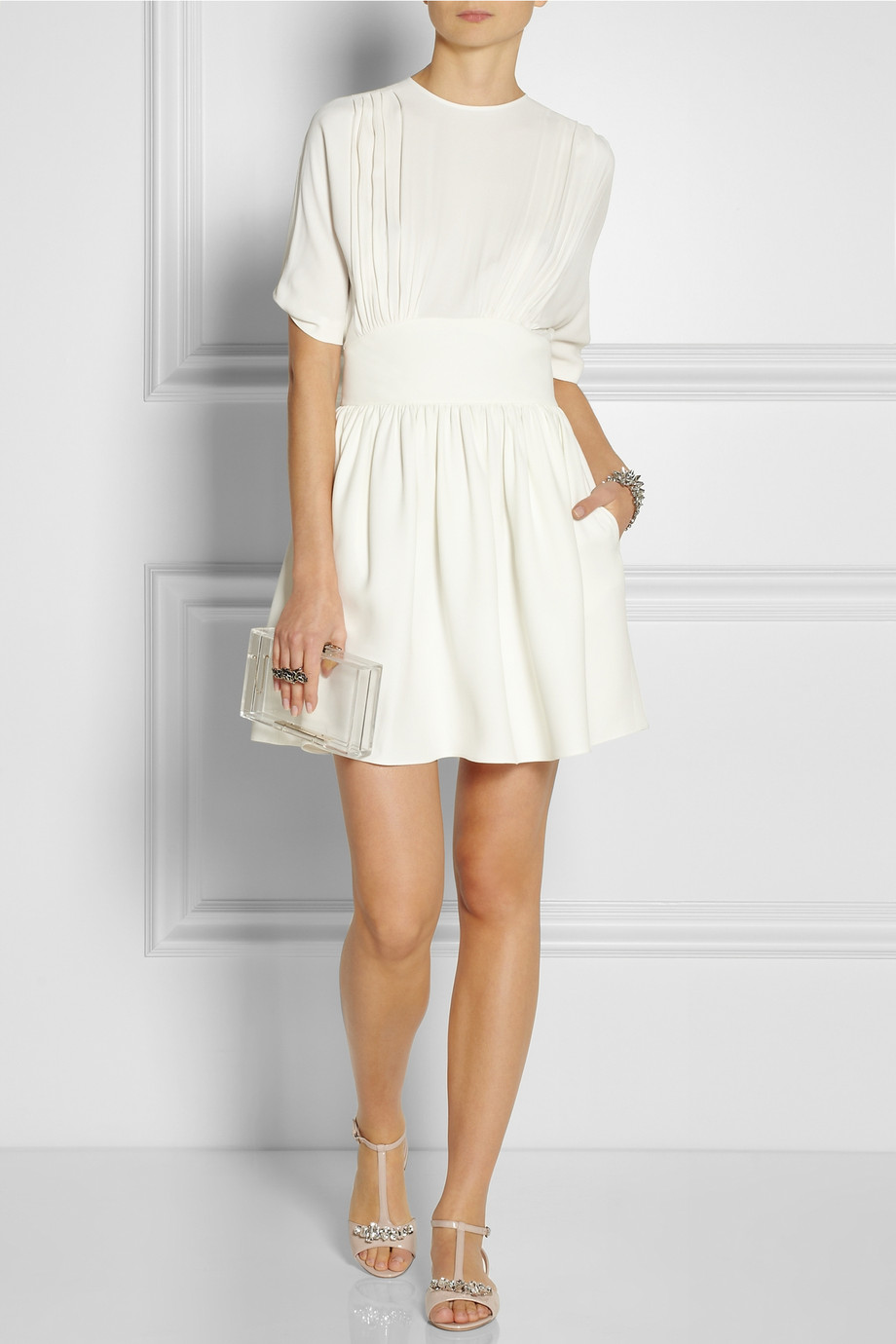 miu miu split back pleated crepe dress in white lyst. Black Bedroom Furniture Sets. Home Design Ideas