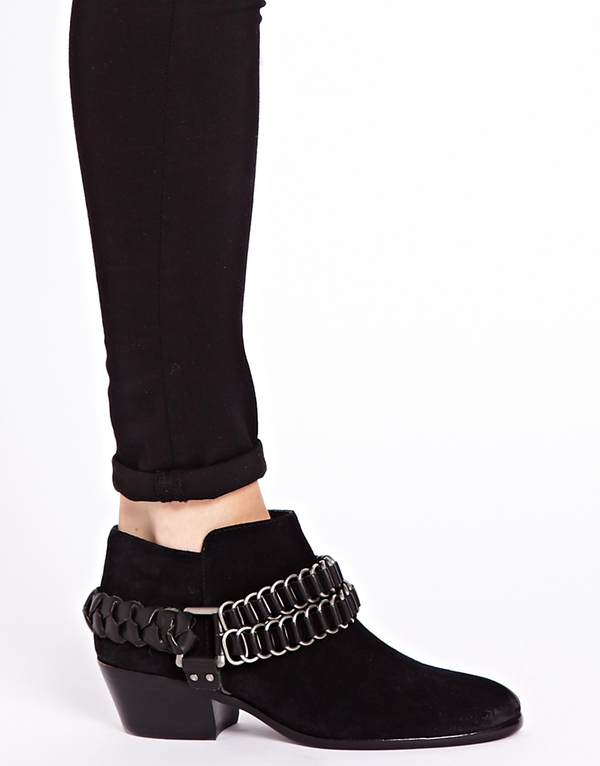 sam edelman posey suede ankle boots in black lyst