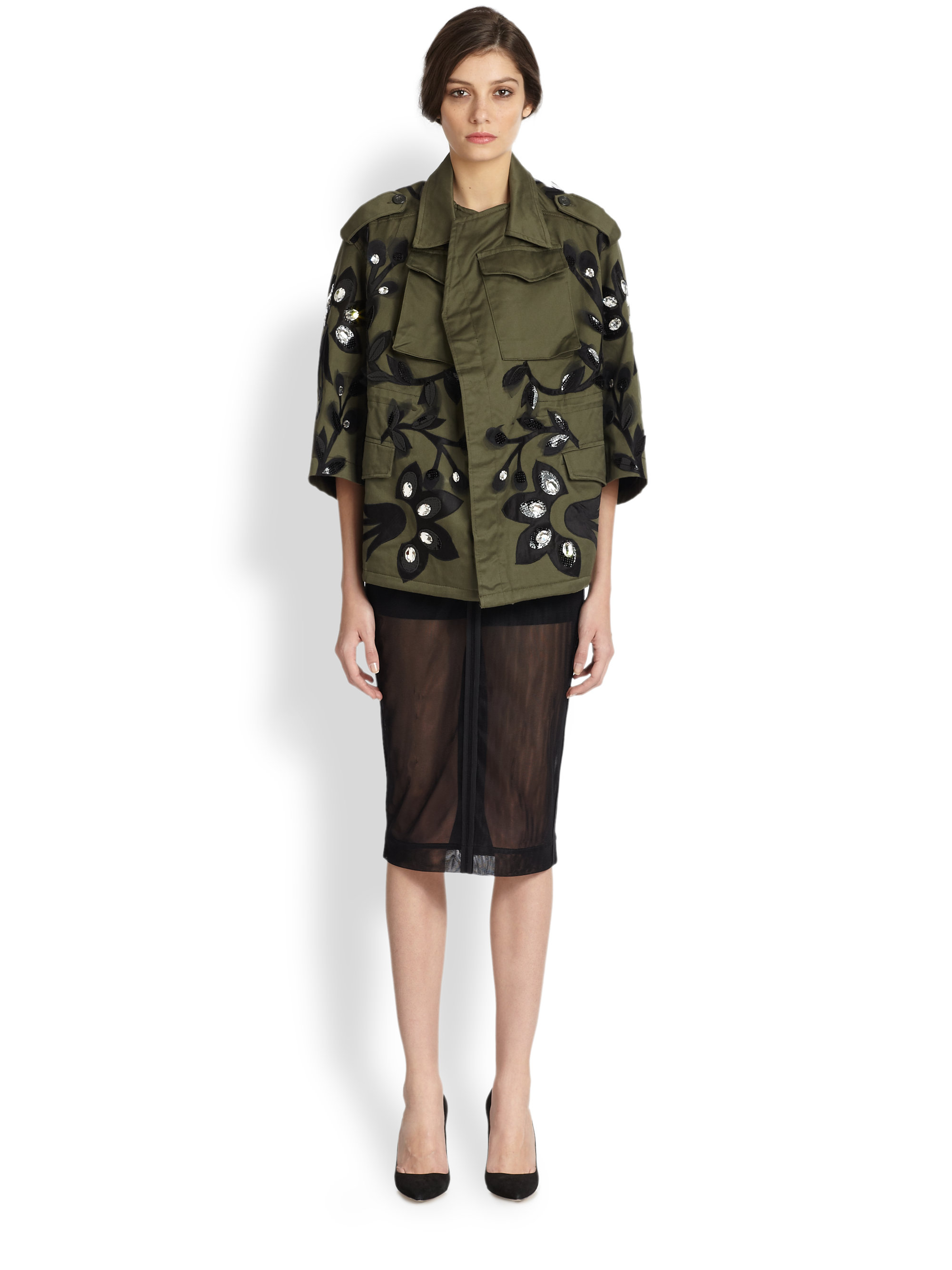 Antonio marras military embroidered parka jacket in green